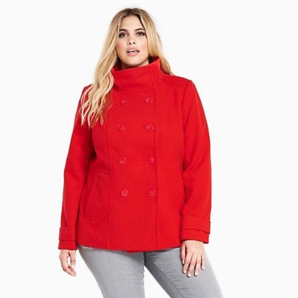 80e6c5c405a Torrid Double Breasted Red Peacoat Pea coat jacket